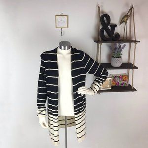J. McLaughlin Black & White Striped Wool Cardigan